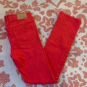 Madewell red skinny jeans